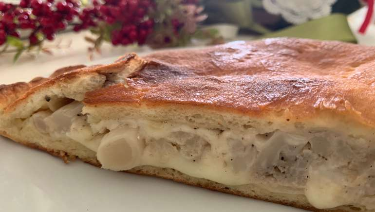 Cauliflower Scacciata is a must have of Sicilian Christmas or New Year's Eve dinner